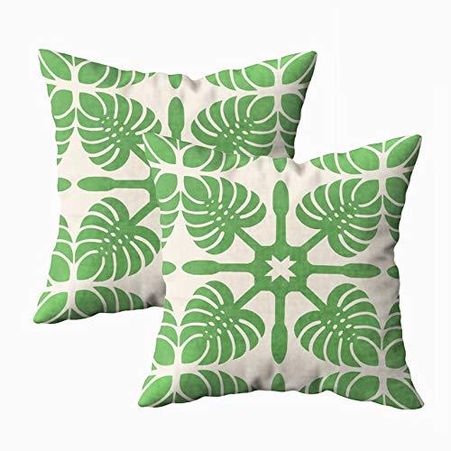 TOMWISH 2 Packs Hidden Zippered Pillowcase Modern Hawaiian Quilt Monstera 18X18Inch,Decorative Throw Custom Cotton Pillow Case Cushion Cover for Home