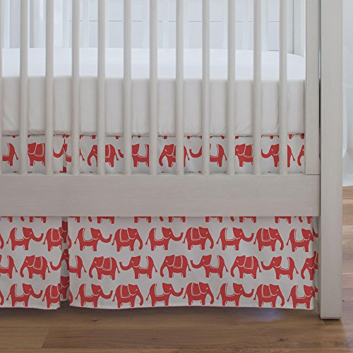 Carousel Coral Marching Elephants Crib Skirt Single-Pleat...