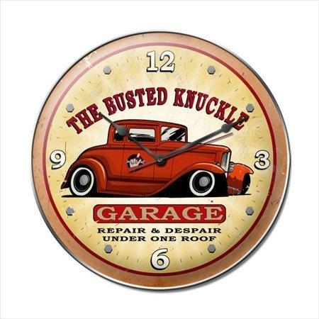 Past Time Signs BUST024 Busted Knuckle Garage Hot Rod Automotive Vintage Metal Clock Knuckle Garage Metal Sign