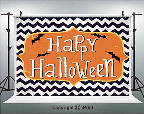 Halloween Photography Backdrops Cute Halloween Greeting Card Inspired Design Celebration Doodle Chevron Decorative,Birthday Party Background Customized Microfiber Photo Studio Props,5x3ft,Indigo White -