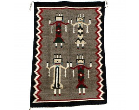 Perry Null Trading Louise Reed, Yei Rug, Navajo Handwoven, 27 1/2'' x - Yei Rug