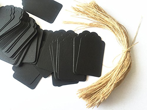 100pcs Black Paper Gift Tags with Free 100 Root Natural Jute