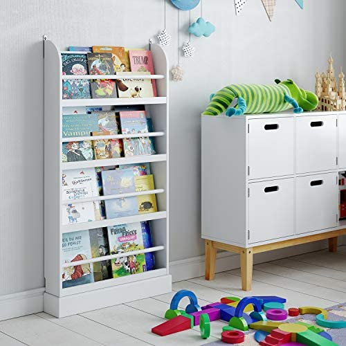 Homfa Bücherregal Standregal für Kinder Regal Wandregal Kinderzimmer Kinderregal Aufbewahrungsregal 58x12x110cm