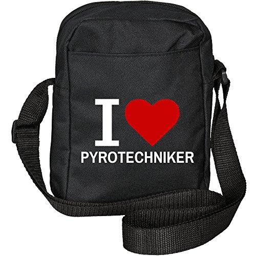 Umhängetasche Classic I Love Pyrotechniker schwarz
