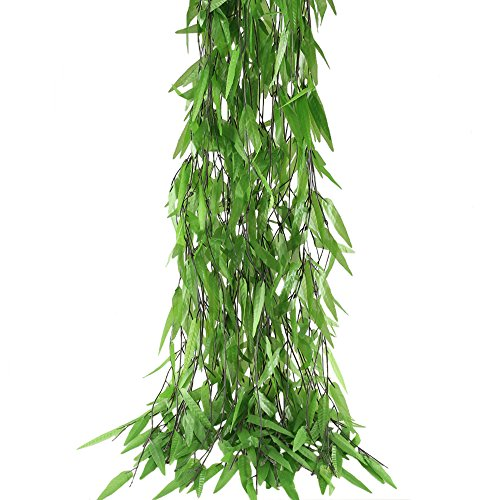 Hogado 50pcs 375 Feet Artificial Vine Greenery Garland Silk Willow Rattan Wicker Twig Fake Leaves Swags Wall Wedding Tropical Jungle Balcony Decor