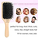 Boar Bristle Hair Brush and Comb Set for Women