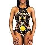 (US) Forthery Swimsuit Women Retro One Piece Monokini African Print Push Up Swimwear (M, Black)