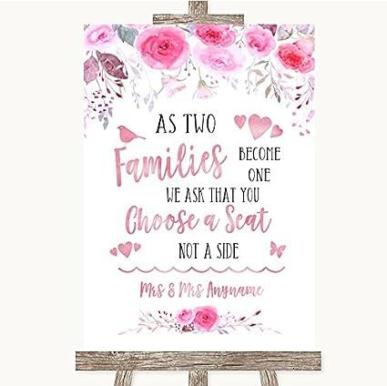 Letrero de boda con diseño de flores, color rosa y acuarela ...