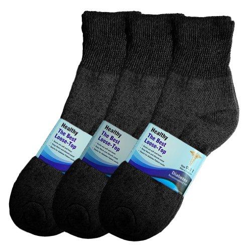 Basico Women/men 12 Pair Diabetic Socks, (Ankle 9-11, Black)