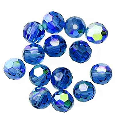 ed9355839 Image Unavailable. Image not available for. Color: 24 pcs 8mm Swarovski  Crystal Round Beads 5000, Capri Blue AB ...