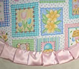 """Tabletop Easter Tree Skirt, 24"""" Pastel Squares with Easter Items"""