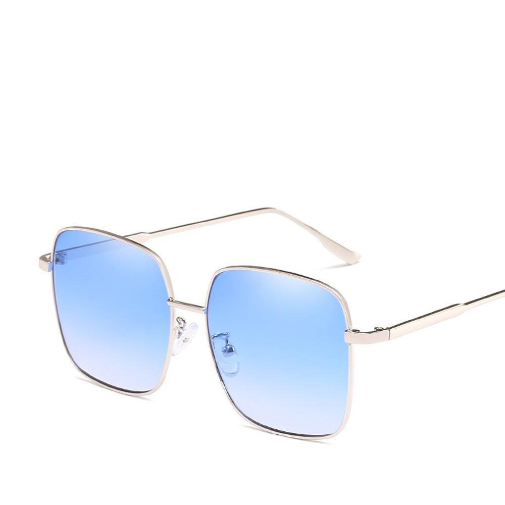 Aoligei Box NET rot Männer und Frauen Sonnenbrillen Trend transparent Ozean Sonnenbrille mit Retro-große Rahmen schmalen Gesicht schattieren xBxbSYr