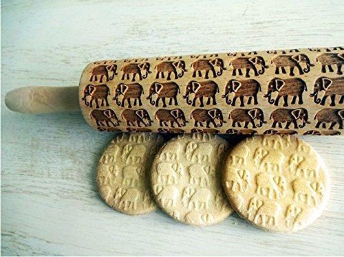 ELEPHANTS pattern Embossing Rolling Pin. Engraved rolling pin with ELEPHANTS for embossed cookies.