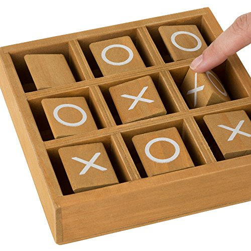 Hey! Play! Tic-Tac-Toe Small Wooden Travel Game with Fixed, Spinning Pieces - Traveling Board Game for Adults, Kids, Boys and Girls by by Hey! Play! (Image #3)