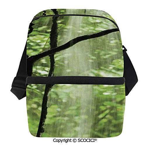 SCOCICI Insulated Lunch Cooler Bag Jungle View with Waterfall Rocks and Trees Natural Beauty in Wild Atmosphere Reusable Lunch for Men Women Heat Insulation,Heat Protection