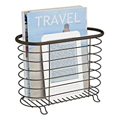 Keep bathroom spaces clean and clutter free with the Freestanding Magazine Holder and Organizer from mDesign. The wire basket holds all your reading materials in one convenient location. The open wire construction makes it simple to see what'...