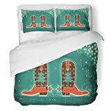 SanChic Duvet Cover Set Western Cowboy Christmas with Boots and Holiday on Old Accessories Americana Decorative Bedding Set with 2 Pillow Shams Full/Queen Size