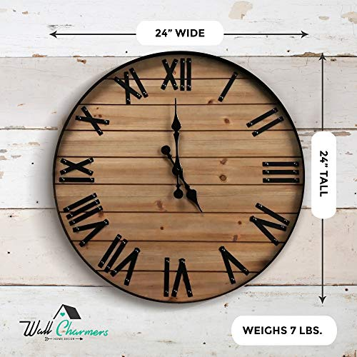 24 inch Rustic Wall Clock | Handmade Large Clock | Real Wood Clock, Beautiful Decorative Wall Clock Large | Oversized… 3