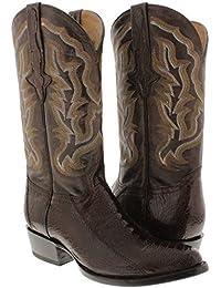 Men's Brown Genuine Ostrich Leg Skin Cowboy Boots J Toe