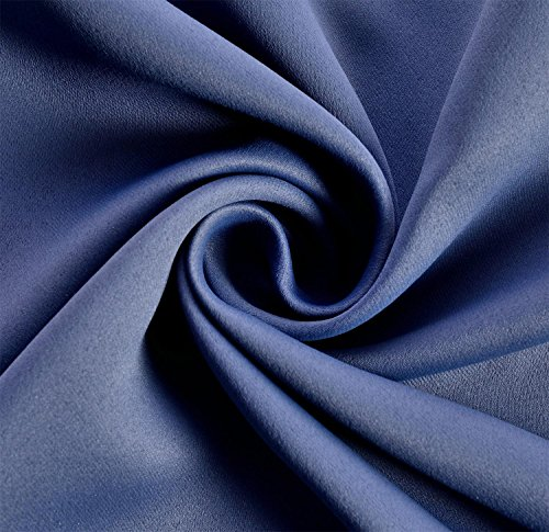 Review Miuco 2 Panels Room Darkening Thermal Insulated Grommet Window Blackout Curtains for Bedroom 63 Inches Long Navy Blue