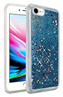 HR Wireless For Apple iPhone 8/ 7 Liquid Quicksand with Glitter Cell Phone Case - Light Blue