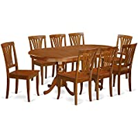 East West Furniture PLAV9-SBR-W 9-Piece Dining Table Set