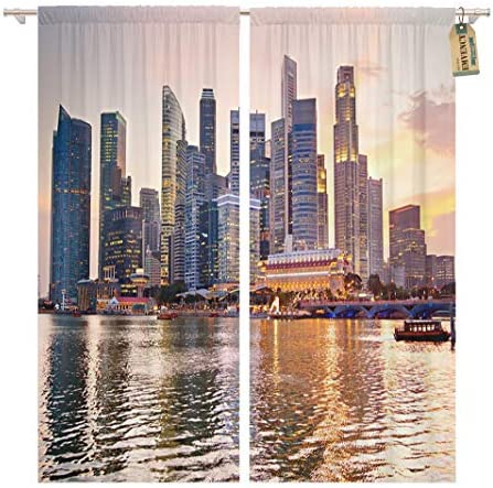 Golee Window Curtain Blue Building Skyline of Singapore at Beautiful Sunset Orange Home Decor Pocket Drapes 2 Panels Curtain 104 x 96 inches