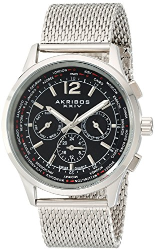 (Akribos XXIV Men's AK716 Explorer Swiss Multifunction Stainless Steel Mesh Bracelet Watch (Black/Silver))