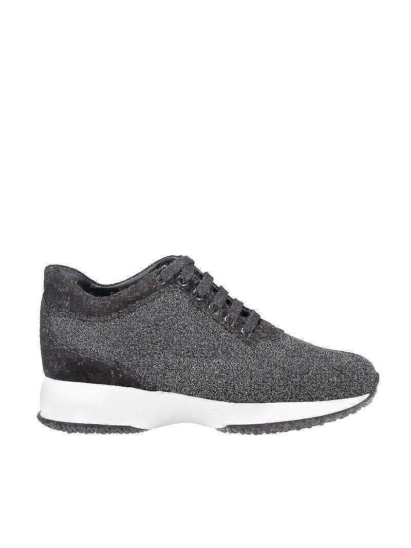 - Hogan Women's HXW00N00010H1KB999 Black Leather Sneakers