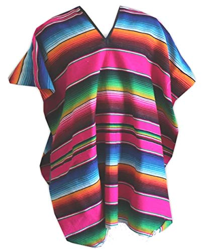 Del Mex (TM Mexican Serape Poncho Adult Costume (Pink) ()