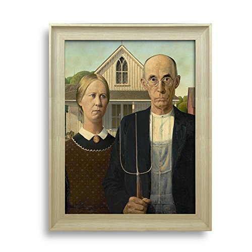 Wall26 - American Gothic by Grant Wood - Framed Art Print - Famous Painting Wall Decor - 20