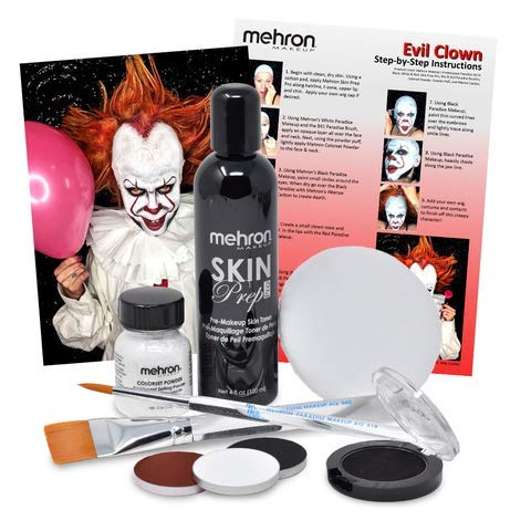 Evil Clown Halloween Makeup Kit - Professional Costume Cosmetics for a Creepy