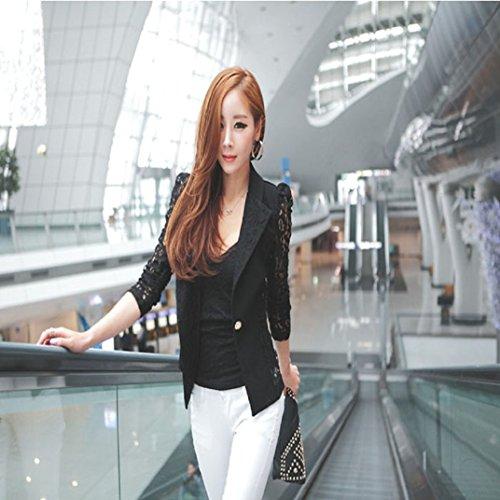 Manches Transer Crochet Blazer ® Noir Noir Sexy Petit Veste En Longues Femmes blanc Dentelle m Mode Manteaux Femme xxxxl qBYxHwPrBv