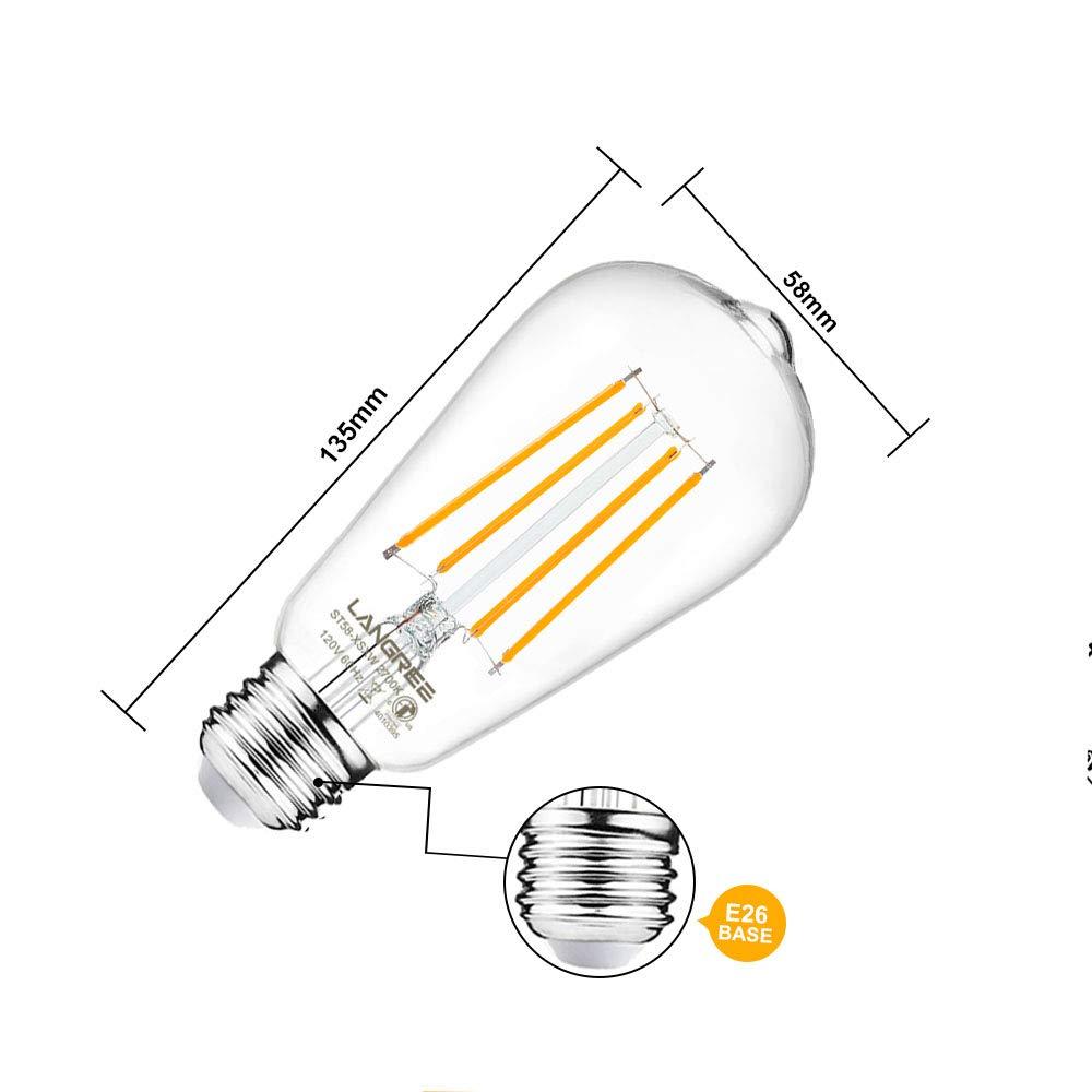 Decorative Clear Glass for Bathroom Kitchen Dining Room Dimmable Led Filament Bulb E26 Medium Base Pack of 4 LED Edison Bulb 6W Vintage Light Bulb 60W Equivalent 800 Lumen 2700k Warm White