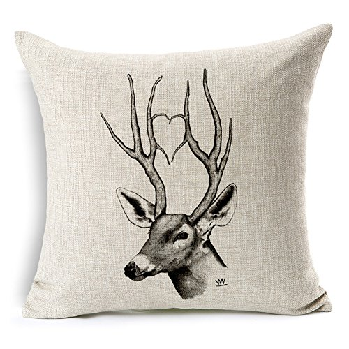 Aumey Simple Cotton Linen Square Throw Flax Pillow Case Decorative Cushion Cover Deer Antlers Elephant Head Rhinoceros 18