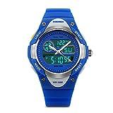 Boys Digital Sports Watch Analog Wrist Watch with LED Alarm Stopwatch Electronic Outdoor Waterproof Children Wristwatch Dual Time Zone – Blue