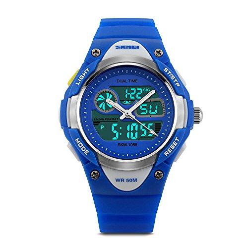Boys Digital Watch Kids Sports Wrist Watches Electronic Outdoor Waterproof Alarm Stopwatch LED Light Dual Time Zone – Blue ()