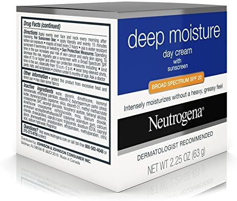 Neutrogena Deep Moisture Face Cream with SPF 20 Sunscreen, Glycerin, Shea Butter & Vitamin D3, Face moisturizer for dry skin - SPF moisturizer, Glycerin, Shea Butter, Vitamin D3, 2.25 oz (Pack of 3)
