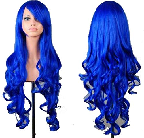 Cosplay Purple Wig Synthetic Long Curly Halloween Women Blue Hair Carnival Costume Cosplay Inclined Bangs Hairpiece,Blue,28inches -