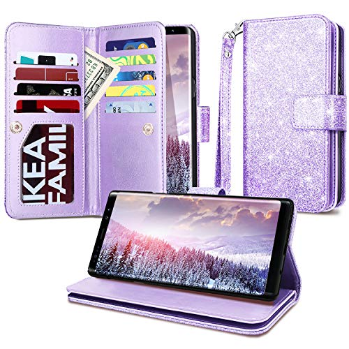 Casewind Note 9 Wallet Case,Samsung Note 9 Case,Glitter Wallet Case [Cash Holder][Wrist Strap][Magnetic Snap Closure] Protective Cover for Galaxy Note 9 2018 Release(6.4),Purple
