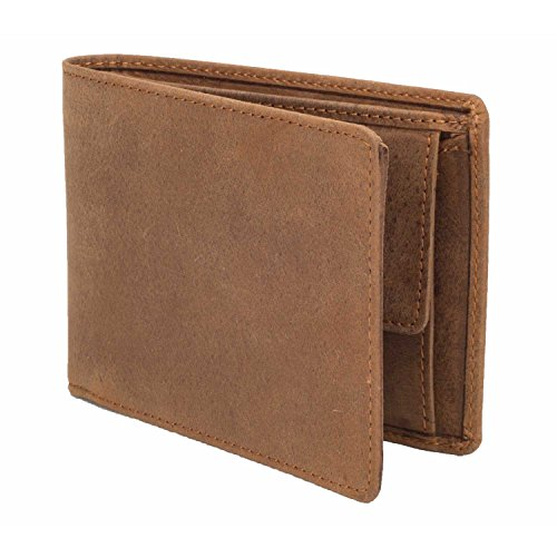 DiLoro Wallets for Men Bifold Flip ID Section Coin Compartment RFID Protection Full Grain Top Quality Vegetable Tanned Leather (Light Hunter Brown) by DiLoro (Image #4)