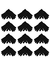 High Desert Gear 12 Pairs Unisex Men's Women's Winter Magic Touch Screen Knit Gloves Mittens 1 Dozen(Black)