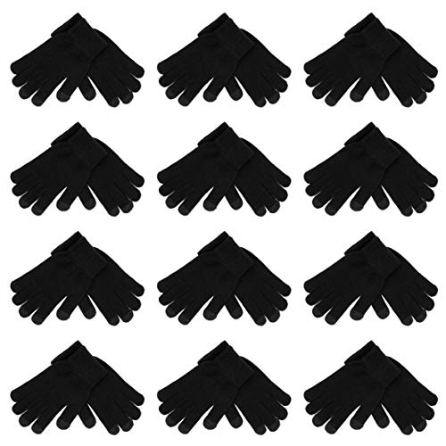 High Desert Gear Unisex Winter Knit Touchscreen Magic Gloves One-Size Fits Most Adults Teenagers 12 Pairs 1 Dozen Size M/L (Touchscreen Black)