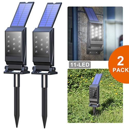 Avaspot Solar Spotlights,【2018 Version】 2 Pack 11 LED Solar Lights, Waterproof Solar Landscape Lights, 180°Adjustable Outdoor Security Lighting 2-in-1 Solar Wall Light Patio Yard Driveway, 2PCS