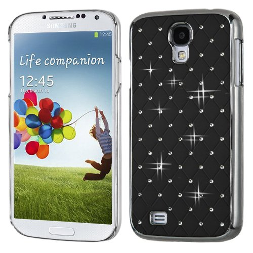 MyBat Samsung Galaxy S 4 Luxurious Lattice Elite Dazzling Back Cover with Diamonds - Retail Packaging - Black Silver (Plating Executive Cover)