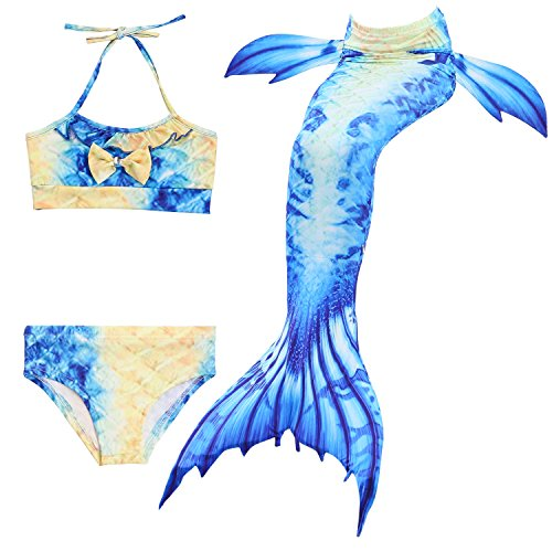 Kakawayi Girl's Mermaid Tail Swimsuit Bathingsuit Sea-maid Bikinino monofin), Blue+yellow, Height 120cm/5Y-6Y
