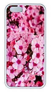 iPhone 5S Customized Unique Landscape Flowers Pink Garden Flowers New Fashion TPU White iPhone 5/5S Cases by lolosakes