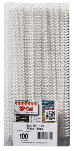6mm (1/4) 12 Plastic Coil Binding - White 100pk