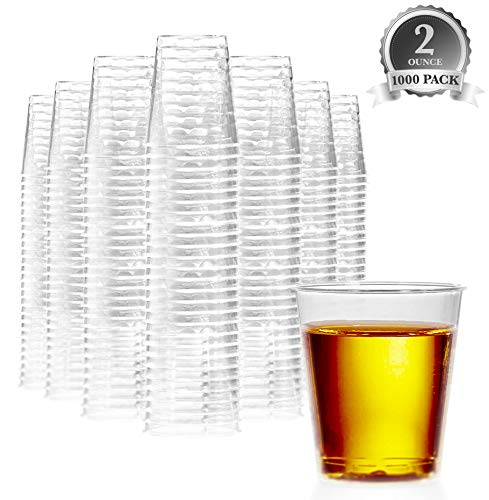 1000 Plastic Shot Glasses - 2 Oz Disposable Cups - 2 Ounce Shot Glasses - Ideal for Whiskey, Wine Tasting, Food Sampling and Sauce Dipping at Catered Events, Parties and Weddings (Clear)