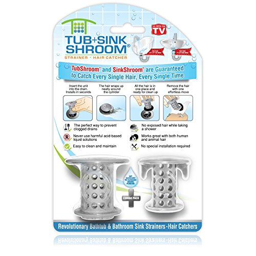TubShroom and SinkShroom Drain Protectors Hair Catchers for Bathtubs and Sinks, Gray